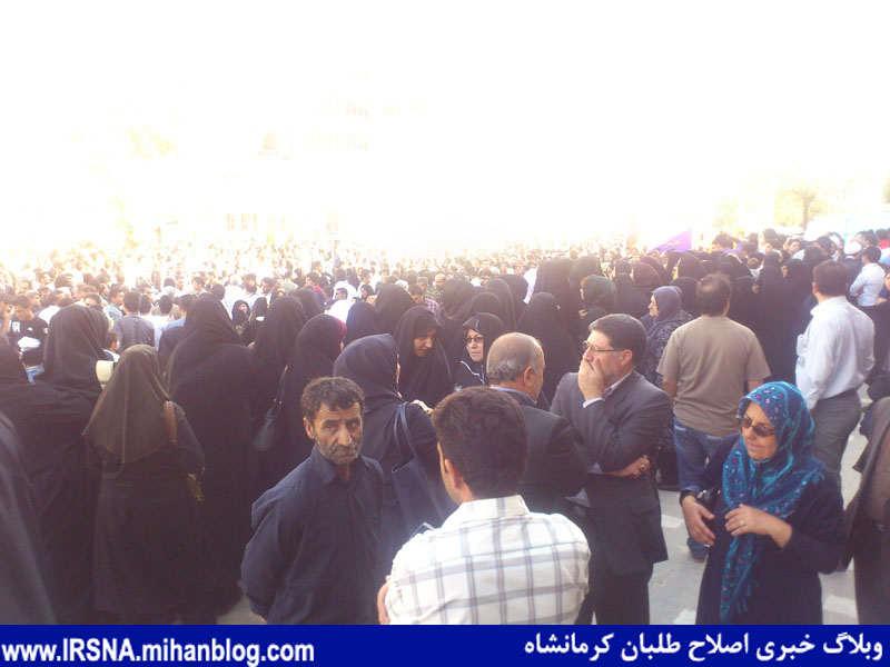 جمعیت انبوه مردم در سفر آیت هاشمی رفسنجانی به کرمانشاه