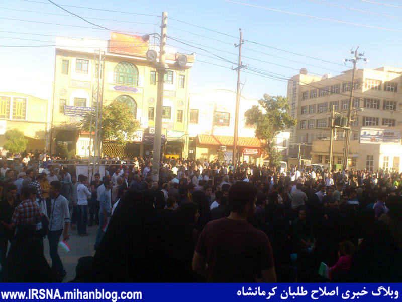 جمعیت انبوه استقبال مردم در سفر آیت هاشمی رفسنجانی به کرمانشاه